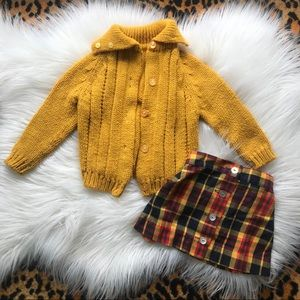 Vintage 70s knit cardigan and matching plaid skirt